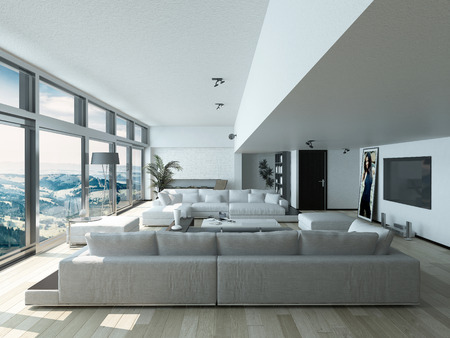couches: Modern Living Room Design with Elegant Couches Inside Architectural House with Glass Window Style.
