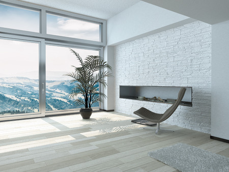room accent: Relaxing Outside View from Lounge Chair in Front Glass Windows with Palm Plant on Pot Ornament Inside Architectural White Residence. Stock Photo