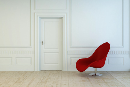 red door: Single red modular chair in an empty room with white wood paneling and a closed door over a plain wooden parquet floor, architectural interior background