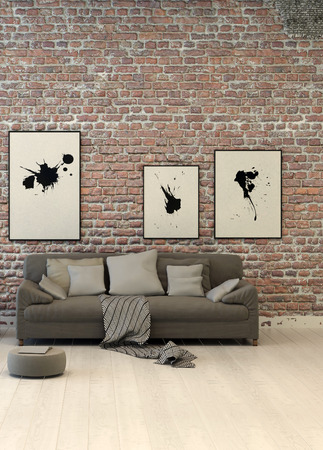uncarpeted: Rustic living area with a rough textured red face brick wall hung with abstract art above a generic upholstered grey sofa with cushions on a painted wood parquet floor