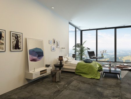 ceiling: Spacious bright modern bedroom interior with large floor-to-ceiling panoramic windows, a simple double divan, artwork, cabinets and chairs in a fresh white and grey decor with green accent