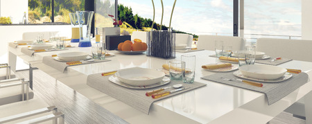 emphasizing: Classy Table Setting at the Dining Area, Emphasizing White Table and Chairs. Stock Photo