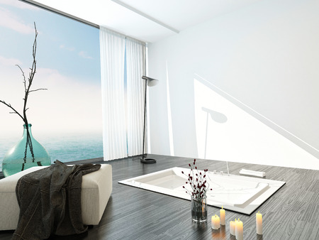 Bright airy modern bathroom interior with a large floor-to-ceiling view window, ottoman and sunken tub in a parquet floor