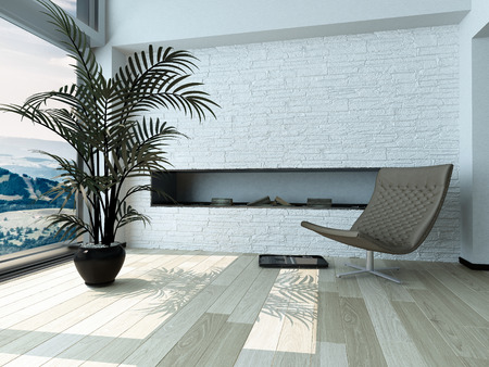 room accent: Relaxing Single Gray Chair and Palm Plant Ornament on Pot in front Glass Window Inside Architectural White House.