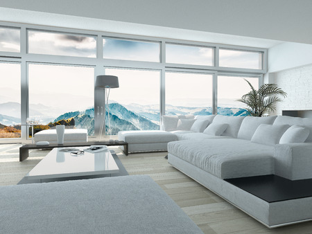 Elegant Living Room Design, with White Furniture, Inside Architectural Building with Huge Glass Windows