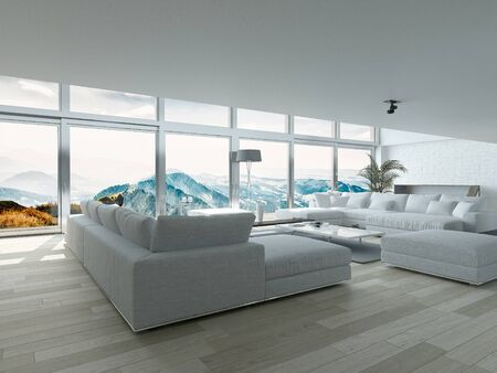 living room design: Modern Residence Living Room Design with Elegant Furniture and Ornaments near Glass Windows
