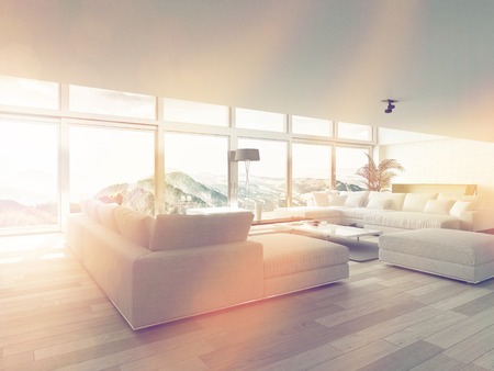 condos: Modern Living Room Area Near Glass Windows Inside Architectural House Illuminated by Sunlight.