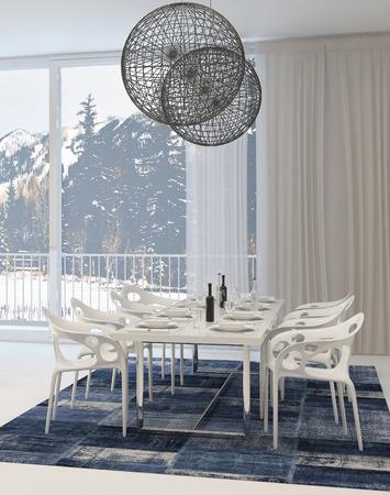 abatjour: In sala, Bianco tavolo e sedie e Globe Light Fixtures e Vista Snowy Mountains Attraverso di Windows Archivio Fotografico