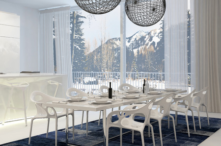 lampshades: Modern White Dining Table in Eat In Kitchen with View of Snow Covered Mountains Through Windows Stock Photo