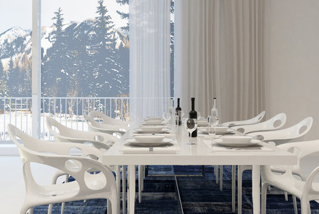 dining table and chairs: Modern Dining Room with White Table and Chairs Set for Meal with Wine Inside Home with Winter Landscape View