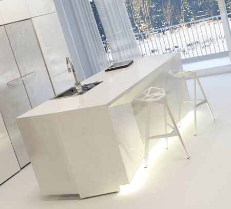 stools: Modern White Kitchen with Illuminated Island and Stools Inside Home in Winter