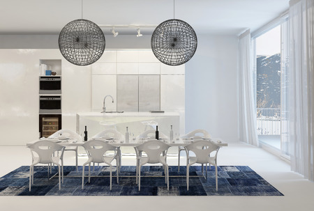 lampshades: Modern Dining Table with Wire Globe Light Fixtures in White Kitchen with Large Windows Stock Photo