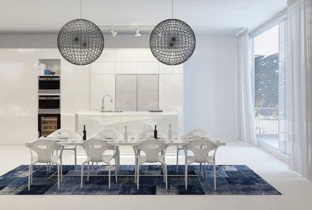 abatjour: Moderno Tavolo con filo Globe Light Fixtures in bianco Cucina con grandi finestre