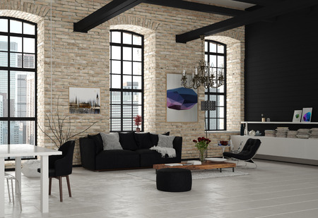 Modern Architectural Living Room Design with Chandelier, Styled with Black and White Furniture.