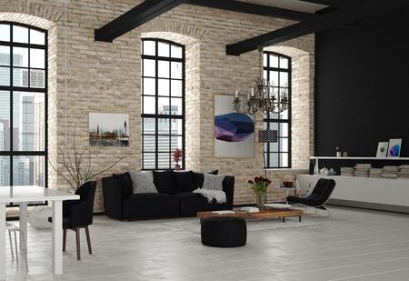 Moderne Architektur-Design-Wohnzimmer mit Kronleuchter, mit Schwarzweiss-Möbeln eingerichtet.