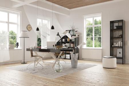 Attraktive Moderne Architektur Innenarchitektur aus einem geräumigen Home Study Zimmer mit eleganter Dekoration und Glasfenster. Standard-Bild