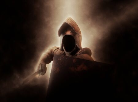 Dramatically Illuminated Faceless Knight in Suit of Armor with Shield and Sword Stock Photo