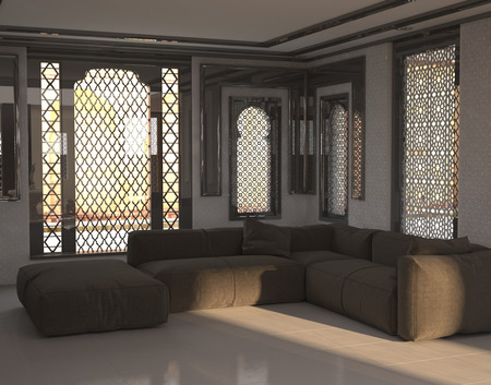 Architectural Interior Of Sitting Room Or Lounge With Sofa And Ottoman In  Room With Arabian Or