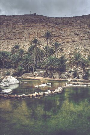 bani: Wadi Bani Khalid Oasis Amidst Hills and Palm Trees with Rock Features, outside of Muscat, Oman