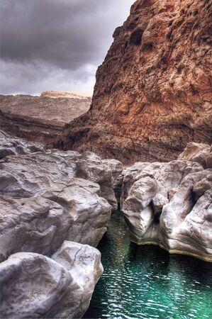 muscat: Scenic of Emerald Green Water in Wadi Bani Khalid in Rocky Landscape Outside of Muscat, Oman