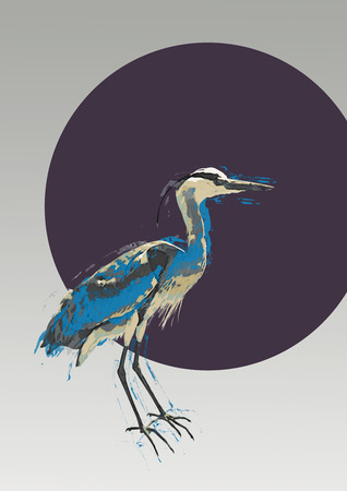 blue heron: Artistic portrait of a blue heron with blue color effect on the plumage and wings in front of a dark blue circle Stock Photo