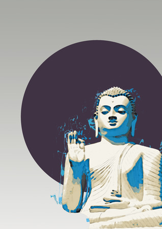 Buddha statue with a hand raised in blessing with a blue toned effect over a dark blue circle in a concept of peace, zen and enlightenment, with copyspace