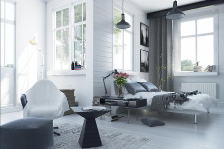 chambre � coucher: Grand int�rieur de la chambre spacieuse et moderne avec un d�cor gris et blanc, un canap�-lit double, des si�ges confortables et de nombreuses fen�tres