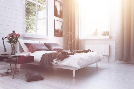 Warmen Sonnenlicht mit Sonne Flare in einem modernen Luxus-Schlafzimmer mit einem Doppelschlafcouch, Blumen, Kunstwerke an den Wänden und lange Vorhänge in grauen und weißen Dekor
