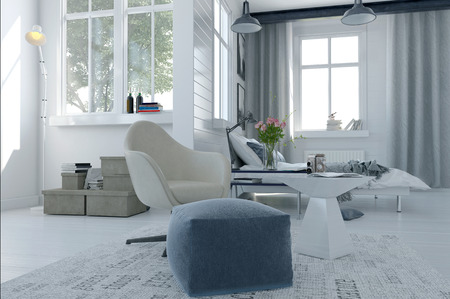 sitter: Large comfortable modern bed sitter interior with a bed and seating area in a spacious airy bright white room with grey decor and large windows, 3d render Stock Photo