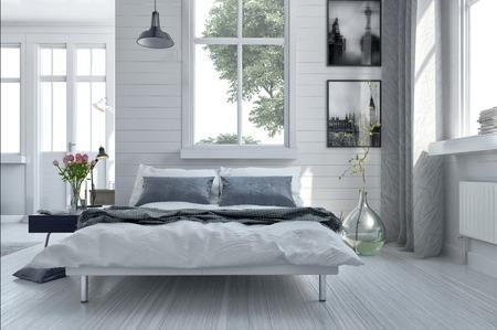 Doppelschlafcouch in einem hellen geräumigen gehobenen modernen Schlafzimmer mit großen Fenstern und Kunstwerken an den Wänden in Grau und Weiß gehalten