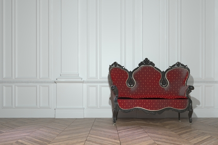 wood carving 3d: Vintage red upholstered carved wood sofa in a classic minimalist white paneled room in a luxury house interior