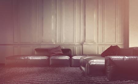 ... Wohnzimmer Innenraum Mit Einem Bequemen Leder Modulare Sitzgruppe Mit  Sofas Und Sofas Gegen Eine Wand Mit Weisser Holzverkleidung Und Täfelung