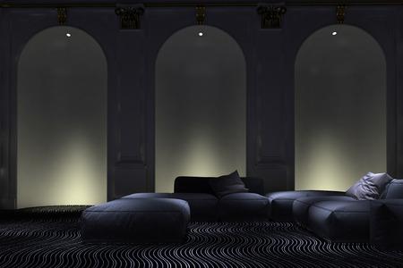 room accents: Graceful illuminati arco accenti parete alcova in una vita di lusso sala interna con suite confortevole salotto modulare moderno