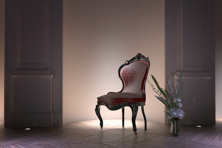 bustle: Antique bustle back Victorian armchair illuminated by a spotlight standing in a recessed alcove in a formal house interior with floral arrangement on the parquet floor