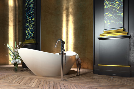 독립 구조로 서있는 보트 모양의 욕조, 패널, 꽃 장식과 빈티지 마루 바닥과 고전적인 스타일의 럭셔리 욕실 인테리어 스톡 콘텐츠