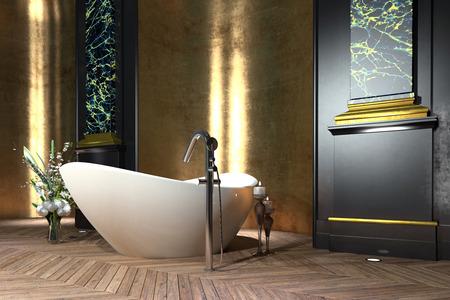 Luxus-Badezimmer Interieur im klassischen Stil mit einem freistehenden bootförmigen Badewanne, Verkleidungen, Blumenschmuck und Vintage-Parkett Standard-Bild