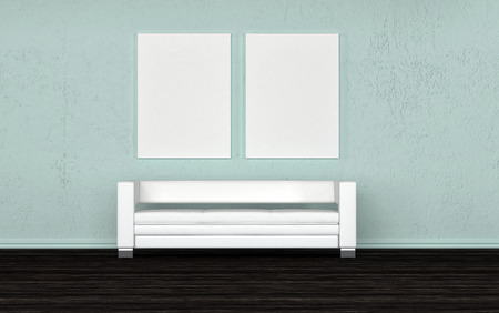 centered: Empty white generic sofa below two blank wall canvasses for your artwork on a grey wall, 3d render