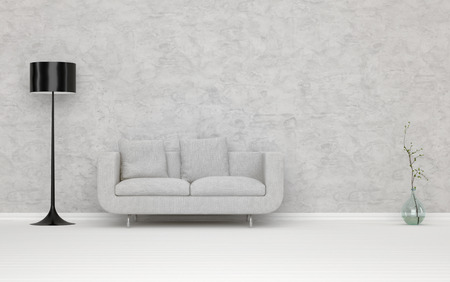 undecorated: Elegant White Couch in an Architectural White Living Room, with Abstract Wall, Decorated with Standing Lampshade and Flower Vase