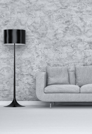 Stehend Schwarz Lampenschirm und einem grauen Sofa Innerhalb eines Architektur Wohnzimmer mit abstrakter Entwurf auf der Mauer Standard-Bild