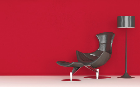 Modern stylish recliner chair standing against a vivid red wall below a freestanding standard lamp, copyspace on the wall Imagens