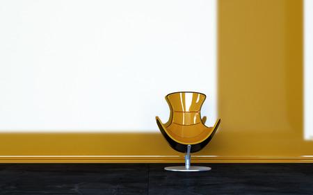 room accents: Concettuale Una lucida Relaxing presidenza gialla all'interno di una stanza vuota con architettonica Bianco e parete gialla. Archivio Fotografico
