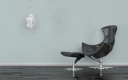 silla: Elegante silla reclinable negro en una habitación minimalista de pie contra una pared gris-azul con una iluminación del aplique de la pared, en un piso de parquet de madera