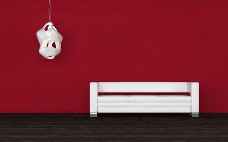 wall sconce: C�modo sof� blanco en una habitaci�n roja de pie contra la pared debajo de una l�mpara de pared en un piso negro en un fondo arquitect�nico listo para sus ideas de decoraci�n de interiores