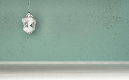 wall sconce: Sitio vac�o sin muebles con una pared verde y aplique de la pared para sus ideas de decoraci�n y fondo arquitect�nico