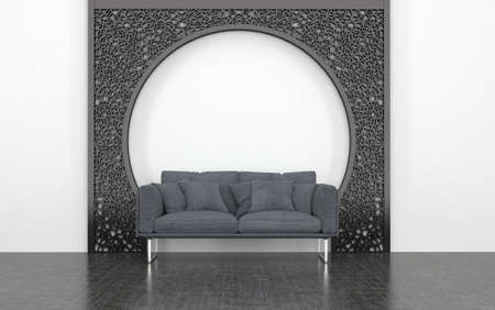 love seat: Plush Grey Love Seat with Cushions in front of Decorative Metal Arch in Room with White Wall and Dark Floor. 3d Rendering. Stock Photo