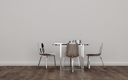dining set: Contemporary Silver Colored Metal Dining Room Set with Shiny Table and Chairs in Sparsely Decorated Room with White Wall and Wood Floor. 3d Rendering. Stock Photo