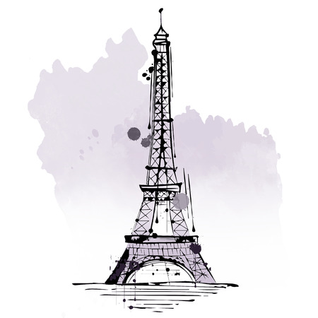 tourist attraction: Eiffel Tower, famous French landmark and tourist attraction made of iron lattice, in Paris, France, hand-drawn sketch with copy space on gray blot isolated on white