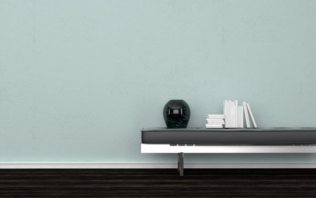desk tidy: Contemporary Black Vase and Stack of Books on Leather Bench in Empty Room with Dark Wood Floor and Light Green Wall. 3d Rendering.