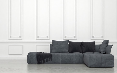 wood molding: Plush Grey Sectional Sofa with Cushions and Throw in Sparsely Decorated Room with White Walls and Wainscotting. 3d Rendering. Stock Photo
