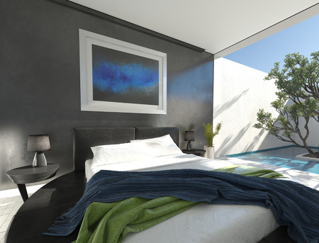 plinth: Modern black leather bed on a round plinth in a sunny spacious bedroom with grey decor and glass doors leading to an outdoor walled patio